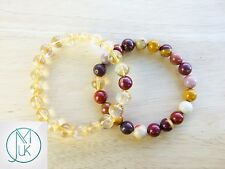 Couple Citrine/Mookaite Natural Gemstone Bracelet 7-8'' Elasticated Healing