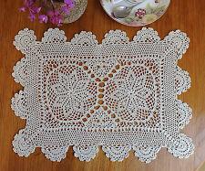 Fine Yarn Hand Crochet Lace Doily Doilie Place Mat Topper 25x36CM Ecru Beige