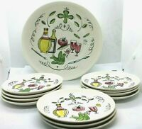 Nasco Del Coronado Salad Serving Set including Serving Bowl & 11 Plates Vintage