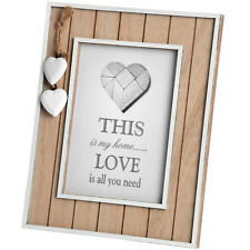 "Shabby Chic Heart Detail White & Natural Wood Photo Frame 5 x 7"""