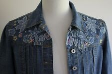 Oilily Jeans Women's Lightweight Embroidered Denim Jacket size 42 (12)