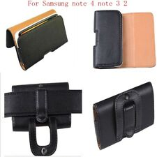 LEATHER CASE BELT CLIP for Samsung Galaxy NOTE 4 3 2 N910 CARRYING HOLSTER POUCH