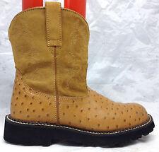 ARIAT FATBABY Sz 9 B US Women's Cognac Ostrich Print Western Cowgirl Boots