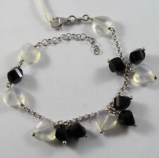 .925 RHODIUM SILVER BRACELET WITH BLACK ONYX AND TRASPARENT OPAL