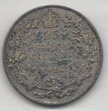 CANADA,  1914,  25 CENTS,  SILVER,  KM#24,  VERY FINE