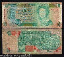 BELIZE 1 DOLLAR P51 1990 BIRD ELEPHANT QUEEN LOBSTER CARIBBEAN USED MONEY NOTE