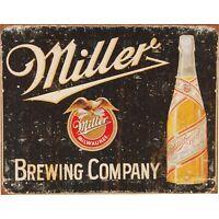 Miller Brewing Vintage Retro Tin Metal Sign 13 x 16in