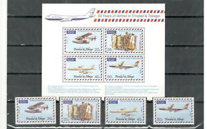 Trinidad and Tobago aviation stamps and block 1977