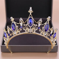 "3"" High Adult Blue Crystal Wedding Bridal Party Pageant Prom Tiara Crown US"