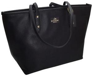 Coach City Zip Tote In Navy Pebble Leather NWT
