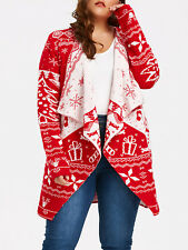Women's Plus Size Christmas Draped Ugly Cardigan Sweater Collarless Coat XL-5XL