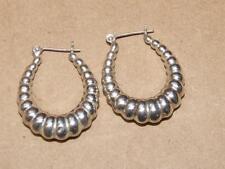 "Pierced Leverback Earrings 7.8 g 1.25"" Vtg Sterling Silver 925 Puffy Ribbed Hoop"