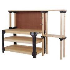 Workbench Garage Shop Work Table Wood Shelves Heavy Duty Storage Shelves