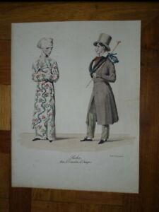 GRAVURE COULEUR CARICATURE COSTUME HOMME MODE THEATRE TRAVESTISEMENT 1820