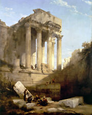 Temple Of Bacchus Ancient Roman Ruins In Lebanon Painting Real Canvas Art Print