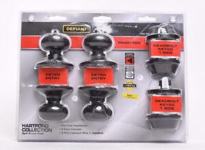 Defiant Hartford Aged Bronze Single Cylinder Keyed Entry Project Pack