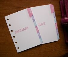 POCKET Size MONTHLY DIVIDERS 'Pastel' #679 - Fits Filofax