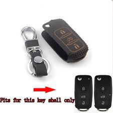 3BTNS Leather Flip Remote Key Chain Holder Cover Case Bag For VW Passat Tiguan