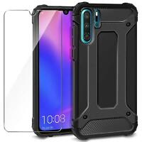 For Huawei P30 Pro Lite Black Armour Shock Proof Phone Case + 9H Tempered Glass