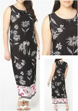Evans New Black White Pink Floral Border Print Plus Size Maxi Long Dress 14 - 28