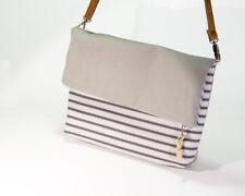 Handmade Canvas Shoulder Messenger bag (Striped Grey Foldover) NEW