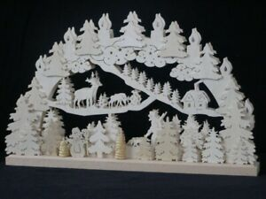 Candle Arches El. Illuminated Forest Scene, Deer And Forester W X H=50x32cm New
