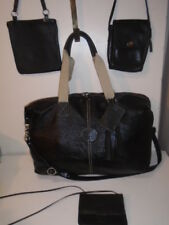 ROOTS CANADA EXTRA LARGE BLACK LEATHER super MARKET TOTE DUFFLE WEEKENDER BAG +1