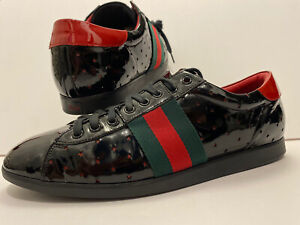 AUTHENTIC MENS GUCCI LOW BLACK RED GG STARS STRIPES PATENT LEATHER ACE SNEAKERS