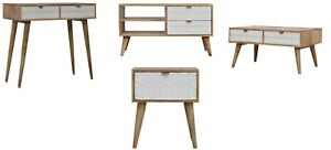 AF Range : Solid Wood White Sleek Screen Printed : Media Bedside Console Coffee