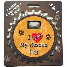 "Bottle Ninja 3 in 1 Opener, Coaster, Magnet ""I Love My Rescue Dog"""