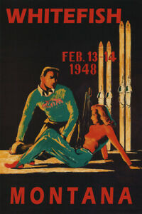 Whitefish 1948 Winter Sports Couple Skiers Ski USA Vintage Poster Repro FREE S/H