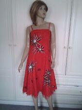TEATRO RED & BLACK CALF LENGTH DRESS SIZE 8 SEQUINS AND NET TRIM BNWT