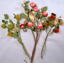 Vtg Antique Germany Millinery Lacquer Fruit Apples Berries Hat Trim Flowers