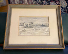 George Twok Aden Ahgupuk Pen Ink Drawing Seal Skin Framed Eskimo Signed Art 10x8
