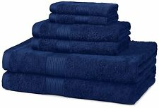 AmazonBasics Fade-Resistant Cotton 6-Piece Towel Set, Navy Blue, NEW