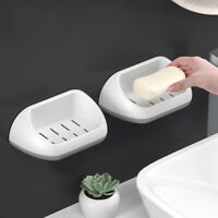 Plastic Bathroom Shower Suction Cup Wall Soap Holder Double Layers Dish Tray Box