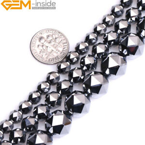 """Natural Black Shine Terahertz Faceted Stone Round Beads For Jewelry Making 15"""""""
