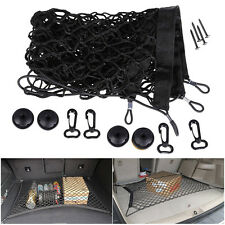 Car SUV Rear Trunk Boot Floor Cargo Net Elastic Mesh Storage Fixed Set Kit Black