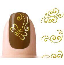 Nagelsticker Nail Sticker Tattoo Fingernagel Aufkleber Water Gold Schnörkel