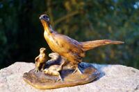 Jakob Gruber (1864 - 1915) Wien Austria bezaubernde Bronze Figur Fasan mit Küken