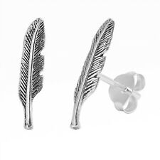 Beautiful Feather Stud .925 Sterling Silver Earring