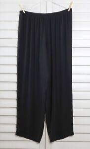 EILEEN FISHER $228 Black 100% Silk Pull On Straight Leg Pants Size Large