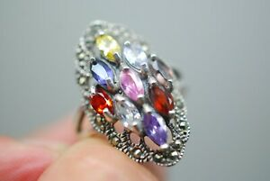 Stunning Vintage 925 Silver Marcasite And Gem Set or glass Ring 6g size R S