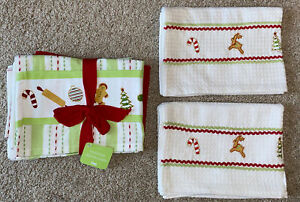 NEW 2 TAG BRAND HOLIDAY EMBROIDERED DISH TOWELS & A SET OF 3 DISH TOWELS