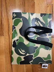 NEW Bathing Ape Bape Paper Shopping Bag Green Camou With Fabric Hang Tag
