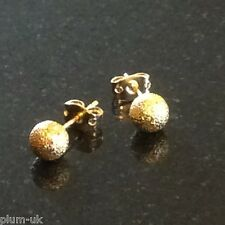 CE 18k Gold Filled 6mm Satinato Ball Orecchini in Scatola Regalo Gratuito UK Prugna