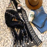 M Native Cowichan Print Blanket Cardigan Sweater Womens Vtg 70s Insp MEDIUM