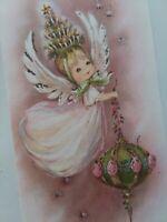 Vtg PINK Angel GIRL w Christmas Tree Hat & GLITTER ORNAMENT GREETING CARD