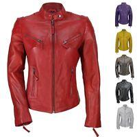Ladies Womens Genuine Real Leather Vintage Slim Fit Red Brown Biker Jacket