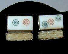 Vintage Rebecca Collins Sterling Silver Chinese Tile & Carved Coral Earrings
